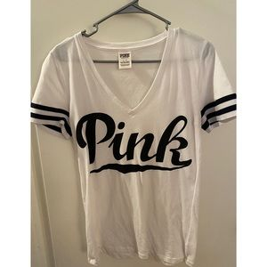 White and black VS PINK softball tee